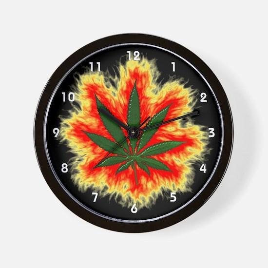 Pot Leaf Wall Clock