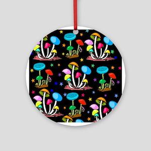 Rainbow Of Mushrooms Round Ornament