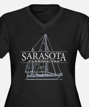 Sarasota FL - Women's Plus Size V-Neck Dark T-Shir
