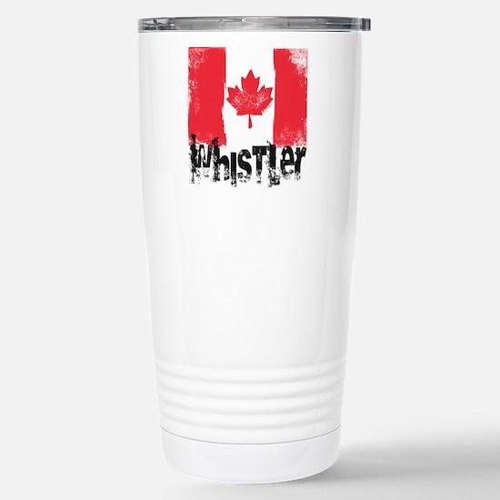 Whistler Grunge Flag Stainless Steel Travel Mug