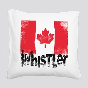 Whistler Grunge Flag Square Canvas Pillow