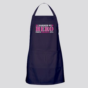 I Married Hero Proud Librarian Wife Apron (dark)