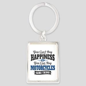 Biker Happiness Portrait Keychain