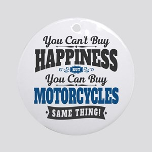 Biker Happiness Round Ornament