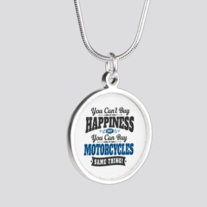 Biker Happiness Silver Round Necklace