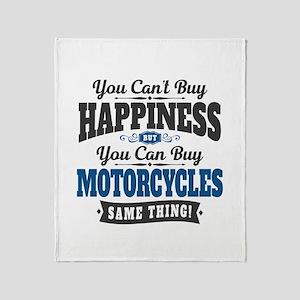 Biker Happiness Throw Blanket