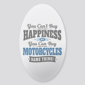 Biker Happiness Sticker (Oval)