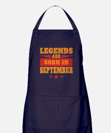 Legends Are Born In September Apron (dark)