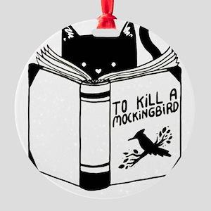 To Kill A Mockingbird Cat Reading A Round Ornament