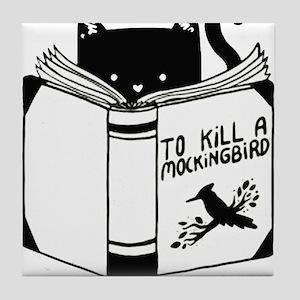 To Kill A Mockingbird Cat Reading A B Tile Coaster