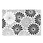 Art Deco Chrysanthemum Grey-Blk Postcards (Package