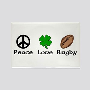 Peace Love Rugby Irish Rectangle Magnet