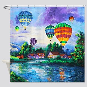 Balloons Canvas Oil Painting Shower Curtain