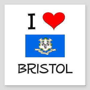 "I Love Bristol Connecticut Square Car Magnet 3"" x"