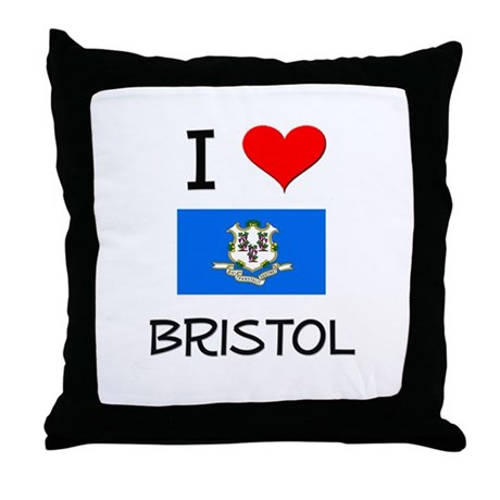 I Love Bristol Connecticut Throw Pillow