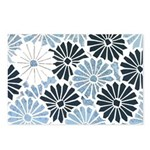 Art Deco Chrysanthemum Blue-Blk Postcards (Package