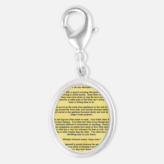 Multiple Sclerosis Awareness Ri Silver Oval Charm