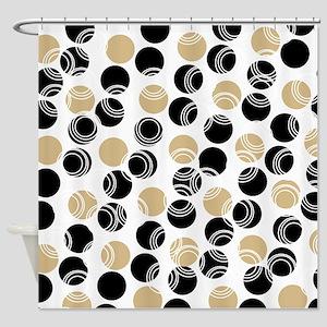 Tan and Black Circles Shower Curtain