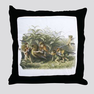 Fairies playing with a Robin Throw Pillow
