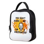 Firefighter Skull and Flames Neoprene Lunch Bag
