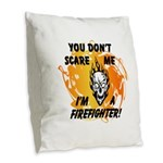 Firefighter Skull and Flames Burlap Throw Pillow