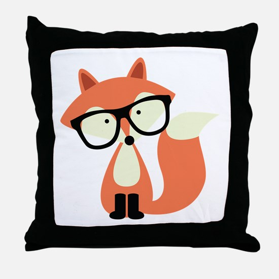 Hipster Red Fox Throw Pillow