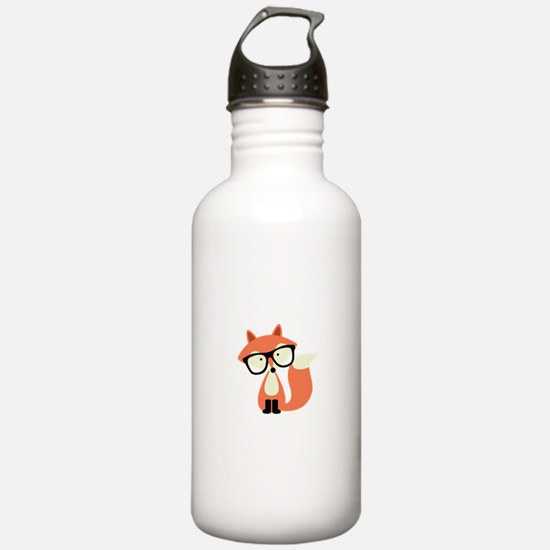 Hipster Red Fox Water Bottle