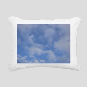 Blue Sky Puffy Clouds Rectangular Canvas Pillow