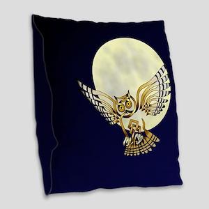 Owl Burlap Throw Pillow