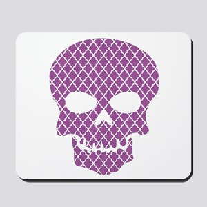 Skull Purple Quatrefoil Mousepad