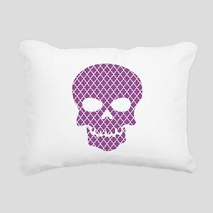 Skull Purple Quatrefoil Rectangular Canvas Pillow