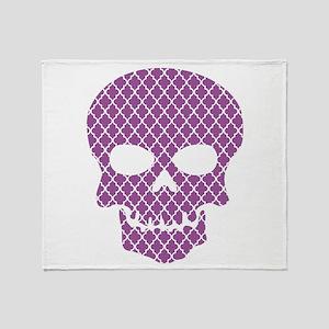 Skull Purple Quatrefoil Throw Blanket