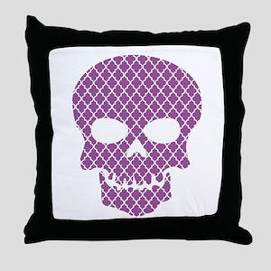 Skull Purple Quatrefoil Throw Pillow