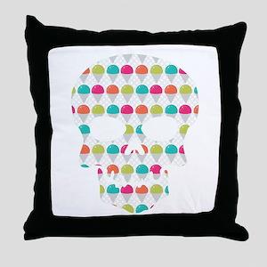 Skull Colorful Snowcones Throw Pillow