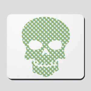Skull Blue And Green Hatchwork Mousepad
