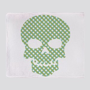 Skull Blue And Green Hatchwork Throw Blanket
