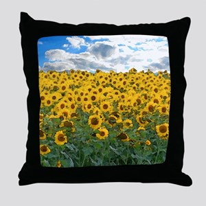 Sunflower Field shwr Throw Pillow