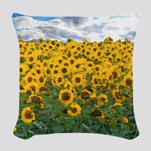 Sunflower Field shwr Woven Throw Pillow