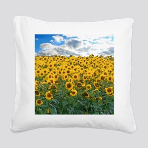 Sunflower Field shwr Square Canvas Pillow