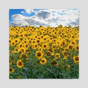Sunflower Field shwr Queen Duvet