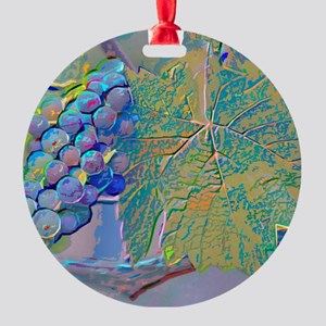 Giving Grapes Round Ornament