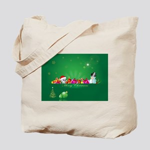 Cute cartoon christmas mouse and snowman Tote Bag