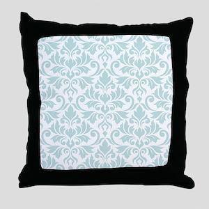Flourish Damask Big Ptn DEBlu/Wt Throw Pillow