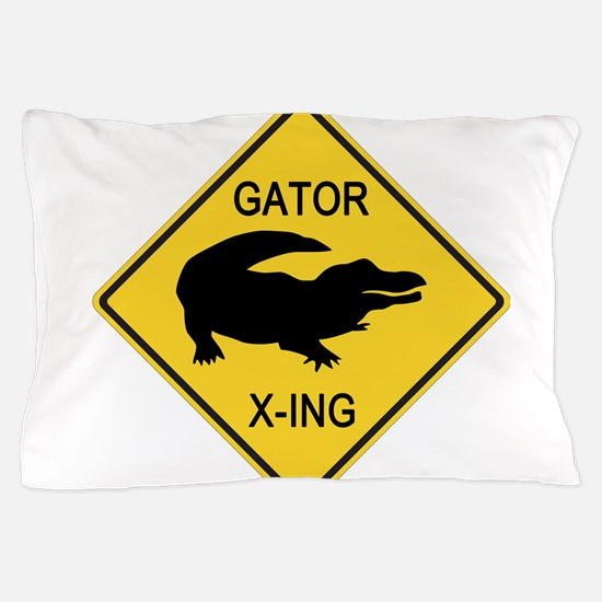 Alligator Crossing Sign Pillow Case