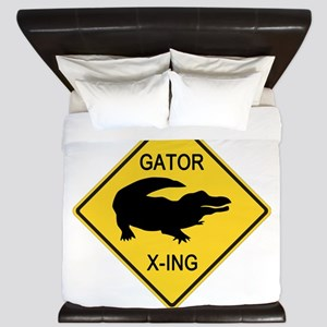 Alligator Crossing Sign King Duvet