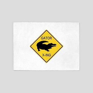 Alligator Crossing Sign 5'x7'Area Rug