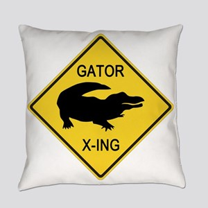 Alligator Crossing Sign Everyday Pillow
