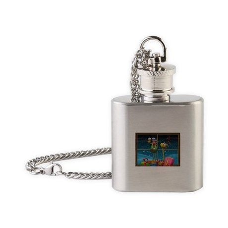Elf Hanging Up Stockings Flask Necklace