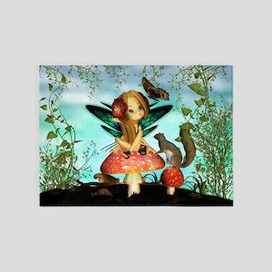 Cute Fairy On Mushroom Fantasy Art 5'x7'Area Rug