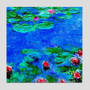 Monet - Water Lilies painting closeup Tile Coaster